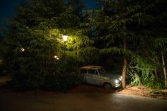 Οικογενειακό αυτοκίνητο Weasley που πετά τη Ford Anglia που συντρίβεται με τα δέντρα Στοκ Φωτογραφία