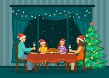 Οικογενειακό βράδυ έτους Χριστουγέννων νέο διανυσματική απεικόνιση