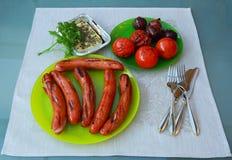 Οικογενειακό γεύμα με τα ψημένα στη σχάρα τρόφιμα Στοκ Φωτογραφίες