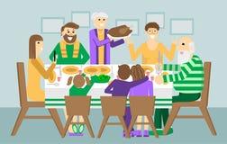 Οικογενειακό γεύμα Χριστουγέννων και ημέρας των ευχαριστιών Ημέρα των ευχαριστιών Τουρκία στον πίνακα Απεικόνιση Σαββατοκύριακου  ελεύθερη απεικόνιση δικαιώματος