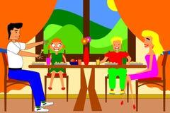 Οικογενειακό γεύμα διανυσματική απεικόνιση