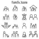 Οικογενειακό εικονίδιο που τίθεται στο λεπτό ύφος γραμμών Στοκ Εικόνες