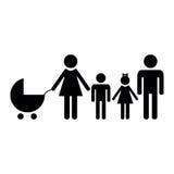 Οικογενειακό εικονίδιο πέρα από το άσπρο υπόβαθρο Στοκ Φωτογραφία