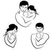 Οικογενειακό εικονίδιο, σκίτσο συμβόλων logotype στις απλές γραμμές Στοκ φωτογραφία με δικαίωμα ελεύθερης χρήσης