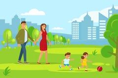 οικογενειακό ευτυχές περπάτημα διανυσματική απεικόνιση