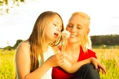 Οικογενειακό καλοκαίρι - φυσώντας σπόροι πικραλίδων Στοκ Φωτογραφία