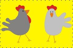 Οικογενειακό κοτόπουλο κινούμενων σχεδίων και διανυσματική απεικόνιση κοκκόρων Στοκ Εικόνα