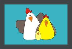 Οικογενειακό κοτόπουλο κινούμενων σχεδίων και διανυσματική απεικόνιση κοκκόρων Στοκ φωτογραφία με δικαίωμα ελεύθερης χρήσης