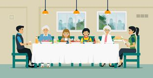 Οικογενειακό να δειπνήσει πίνακας Στοκ Εικόνα
