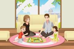 Οικογενειακό παίζοντας επιτραπέζιο παιχνίδι απεικόνιση αποθεμάτων