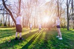 Οικογενειακό παιχνίδι με τη σφαίρα στο λιβάδι χλόης Στοκ φωτογραφία με δικαίωμα ελεύθερης χρήσης