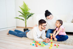 Οικογενειακό παιχνίδι με τους φραγμούς παιχνιδιών Στοκ εικόνες με δικαίωμα ελεύθερης χρήσης