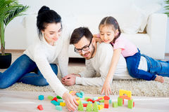 Οικογενειακό παιχνίδι με τους φραγμούς παιχνιδιών Στοκ Εικόνες