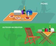 Οικογενειακό πικ-νίκ BBQ κόμμα Τρόφιμα και σχάρα Στοκ φωτογραφία με δικαίωμα ελεύθερης χρήσης