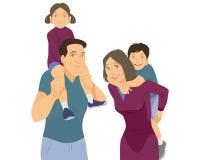 Οικογενειακό πορτρέτο στο λευκό Διανυσματική απεικόνιση