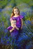 Οικογενειακό πορτρέτο lavender στον τομέα, δύο αδελφές που έχει μαζί τη διασκέδαση Στοκ Εικόνες