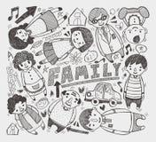 Οικογενειακό στοιχείο Doodle Στοκ Φωτογραφία