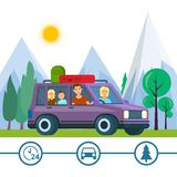 Οικογενειακό ταξίδι Ταξίδι πατέρων, μητέρων και παιδιών διανυσματική απεικόνιση
