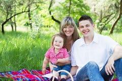 οικογενειακό picnic τρία νεο στοκ εικόνες