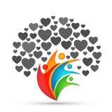 Οικογενειακών δέντρων λογότυπων καρδιών εικονιδίων αγάπης οικογενειακών γονέων παιδιών πράσινο διάνυσμα σχεδίου εικονιδίων συμβόλ στοκ εικόνες