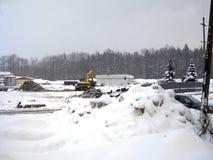 Οικοδομές κάτω από τις χιονοπτώσεις Στοκ Φωτογραφία