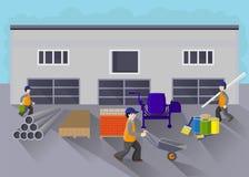 Οικοδομικά υλικά αποθηκών εμπορευμάτων επίσης corel σύρετε το διάνυσμα απεικόνισης απεικόνιση αποθεμάτων