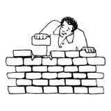 Οικοδόμηση ενός τοίχου ελεύθερη απεικόνιση δικαιώματος