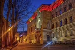 Οικοδόμηση λετονικού Saeima στην παλαιά Ρήγα Στοκ φωτογραφία με δικαίωμα ελεύθερης χρήσης
