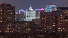 Οικοδόμηση της κυβέρνησης της Ρωσικής Ομοσπονδίας στη Μόσχα στο Λευκό Οίκο βραδιού η άποψη από το τοπ timelapse φιλμ μικρού μήκους
