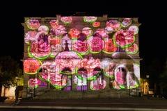 Οικοδόμηση του ελαφριού φεστιβάλ Chartres προσόψεων στοκ εικόνες με δικαίωμα ελεύθερης χρήσης