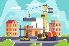 Οικοδόμηση του μεγάλου κτηρίου με τα βαριά μηχανήματα, συγκεκριμένος αναμίκτης, οδικός κύλινδρος, γερανός ελεύθερη απεικόνιση δικαιώματος