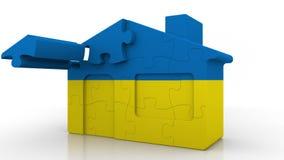 Οικοδόμηση του σπιτιού γρίφων που χαρακτηρίζει τη σημαία της Ουκρανίας Ουκρανικός εννοιολογικός τρισδιάστατος αποδημίας, κατασκευ απεικόνιση αποθεμάτων