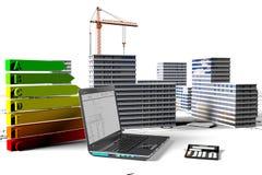 Οικοδόμηση microdistrict με τα στοιχεία της ανάπτυξης της οικοδόμησης των αντικειμένων Στοκ Φωτογραφία