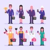 Οικοδόμος γιατρών νοσοκόμων επιχειρηματιών επιχειρηματιών Χαρακτήρας - σύνολο απεικόνιση αποθεμάτων