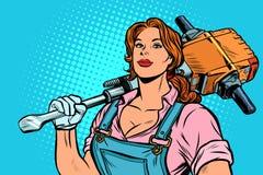 Οικοδόμος οδικών εργαζομένων γυναικών με το κομπρεσέρ απεικόνιση αποθεμάτων