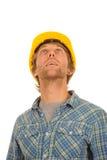 Οικοδόμος σε ένα σκληρό καπέλο Στοκ Φωτογραφίες