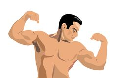 οικοδόμος σωμάτων που λυγίζει τους μυς του απεικόνιση αποθεμάτων