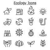 Οικολογία & βιώσιμο εικονίδιο τρόπου ζωής που τίθενται στο λεπτό ύφος γραμμών ελεύθερη απεικόνιση δικαιώματος