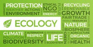 Οικολογία, περιβάλλον, βιώσιμη ανάπτυξη - σύννεφο του Word απεικόνιση αποθεμάτων