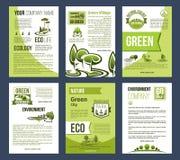 Οικολογία, πράσινη πόλη, πρότυπο επιχειρησιακών αφισών eco Στοκ Εικόνα