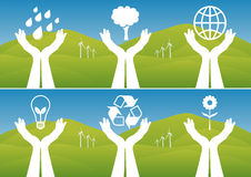 οικολογικά χέρια που κρατούν τα σύμβολα επάνω ελεύθερη απεικόνιση δικαιώματος