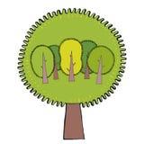 Οικολογική έννοια με τα δέντρα Πράσινη γη Eco επίσης corel σύρετε το διάνυσμα απεικόνισης Στοκ φωτογραφίες με δικαίωμα ελεύθερης χρήσης