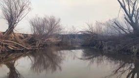 Οικολογικό πρόβλημα της περιβαλλοντικής ρύπανσης που προκαλείται από τον καπνό από μια πυρκαγιά στις όχθεις ποταμού φιλμ μικρού μήκους