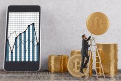 οικονομία έννοιας νομισμάτων υπολογιστών πέρα από το λευκό στοιβών Στοκ Εικόνες