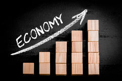 Οικονομία λέξης στο ανερχόμενος βέλος επάνω από τη γραφική παράσταση φραγμών Στοκ Εικόνες