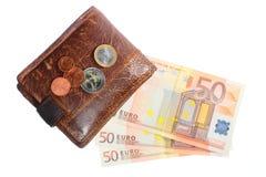 Οικονομία και χρηματοδότηση. Πορτοφόλι το ευρο- τραπεζογραμμάτιο που απομονώνεται με Στοκ φωτογραφία με δικαίωμα ελεύθερης χρήσης