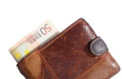 Οικονομία και χρηματοδότηση. Πορτοφόλι το ευρο- τραπεζογραμμάτιο που απομονώνεται με Στοκ Φωτογραφία