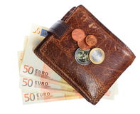 Οικονομία και χρηματοδότηση. Πορτοφόλι το ευρο- τραπεζογραμμάτιο που απομονώνεται με Στοκ Εικόνα
