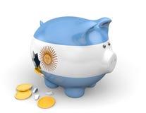 Οικονομία της Αργεντινής και έννοια χρηματοδότησης για την ένδεια και το εθνικό χρέος διανυσματική απεικόνιση