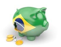 Οικονομία της Βραζιλίας και έννοια χρηματοδότησης για τη κυβερνητική δαπάνη και τα εθνικά χρέη ελεύθερη απεικόνιση δικαιώματος
